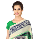 Sizzling Green and Blue Shaded Weightless Georgette Floral Printed Saree