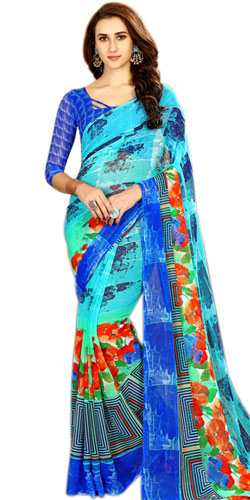 Fabulous Chiffon Printed Sari in Blue Color for Lovely Ladies