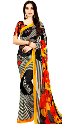 Gorgeous Black Color Marble Chiffon Printed Sari with Yellow Border