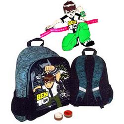 Ben 10 School Bag for Boys with Ben 10 Rakhi and Roli Tilak Chawal