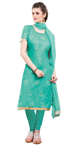 Graceful Chiffon Cotton Embroidered Salwar Kameez in Green Colour