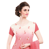 Extremely Beautiful Chiffon Embroidered Salwar Kameez in Red and Cream Colour