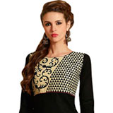 Enthralling Printed Cotton Suit in Black Colour