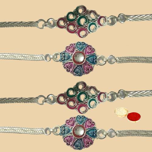Exclusive 4 Silver Plated Rakhi