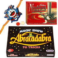 Magic Tricks Game and Kids Rakhi, Cadbury Nutties with Free Roli Tilak and Chawal