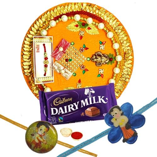 Splendid Kid Rakhi, Rakhi Thali with and Dairy Milk