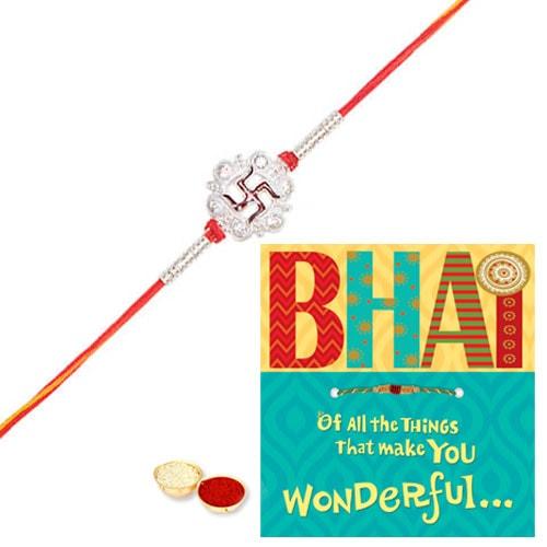 Attractive Swastik Rakhi And Rakhi Card with Thread Rakhi