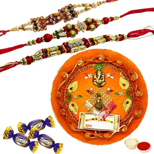 Fabulous Rakhi Thali with Rakhi and Chocolates for Brother