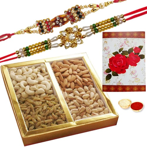 Tasty 500 Gms. Dry Fruits with 2 or More Designer Ethnic Rakhi