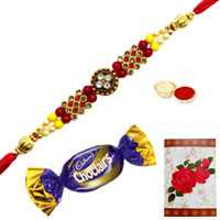 Jeweled Rakhi n Chocolates<br /><font color=#0000FF>Free Delivery in USA</font>