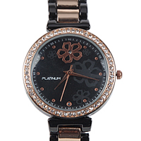 A Fashionable Womens Watch of Black & Rose Gold Plated along with Innumerable American Diamonds
