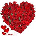 <u><font color=#008000> MidNight Delivery : </FONT></u>:Exclusive <font color =#FF0000> Dutch Red </font>   Roses  in  Heart Shaped Arrangement